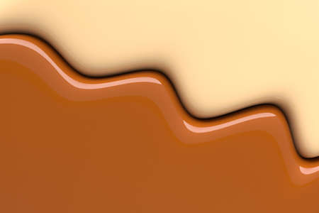 Creative background of colliding liquid white and milk chocolate. Color mixing border. 3d illustration. Stock fotó
