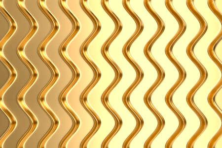 Decorative gold panel. Convex wavy ribs. Wall decor. Metallic color. 3d illustration.