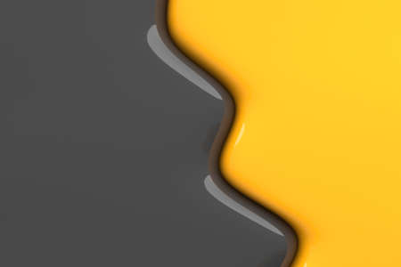 Creative background in the form of a mixture of gray and yellow colors. Liquid fluidity. Color mixing border. 3d illustration.
