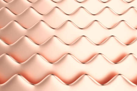 Abstract metallic background. Dimensional horizontal waves made of rose gold material. Minimalist style. 3D illustration. Stock fotó