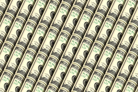 Background from rolled up dollar bills. Creative money pattern. The banknotes are arranged diagonally. 3d illustration.