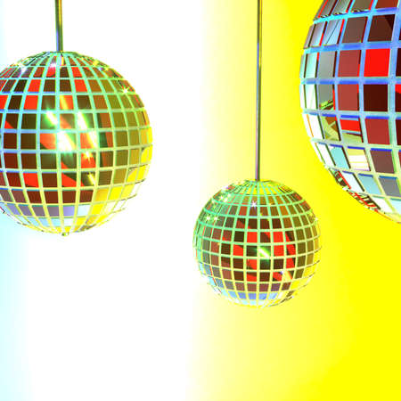 Three disco mirror balls on a gradient white-yellow background. Party accessories. Entertainment industry. Multi-colored shimmering bokeh. 3d rendering. Stock fotó