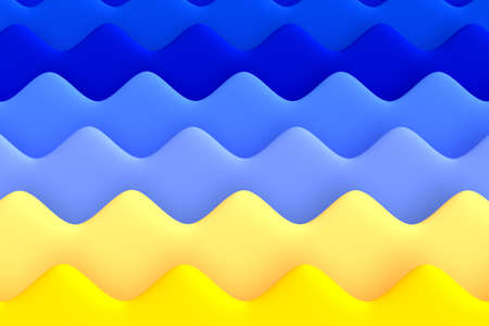 Bright gradient abstract background. Dimensional horizontal water and sand waves. Summer style. 3D illustration.