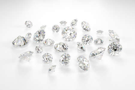 A scattering of diamonds of different sizes on a white background. Exhibition of precious stones. Perfect cut. 3d rendering. Stock fotó