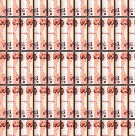 Seamless pattern of rolled up Russian ruble bills. Creative money pattern. The rolls of banknotes are arranged in parallel. 3d illustration.