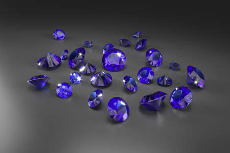 A scattering of blue sapphires of different sizes on a black background. Exhibition of precious stones. Perfect cut. 3d rendering.