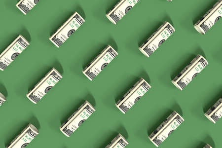 Rolled up dollar bills lie on a green surface. Creative money pattern. The banknotes are arranged diagonally. 3d illustration.