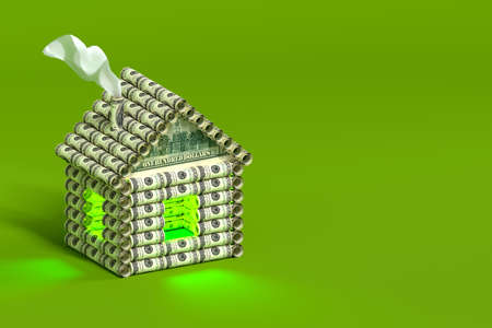 A creative house made of money logs. Logs in the form of rolls of dollar bills. The concept of investing money in real estate. Bright green background. 3d illustration.
