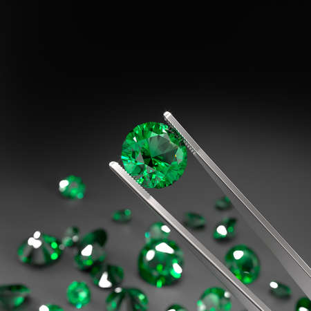 Tweezers are holding an emerald. A scattering of emeralds on a black surface. Gemstone Industry. Expertise for genuineness. 3d rendering. Stock fotó