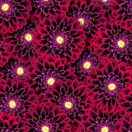 Dahlia flowers seamless pattern. Natural floral background. Flowers randomly overlap. Stock fotó