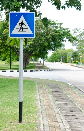 Traffic sign pedestrian crossing  photo