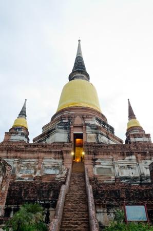 Pagoda Status at Wat Yai Chaimongkol, Ayutthaya, Thailand photo