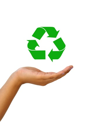 Femme la main et signer le recyclage pour le concept de monde vert
