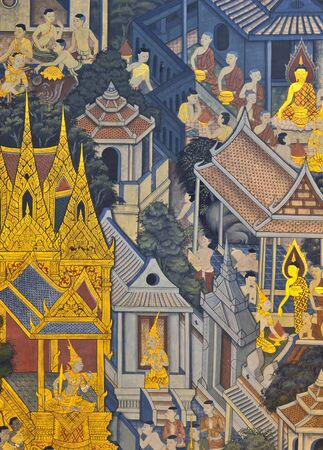Thai Mural Painting in sanctuary, Wat Pho Temple, Bangkok, Thailand  photo