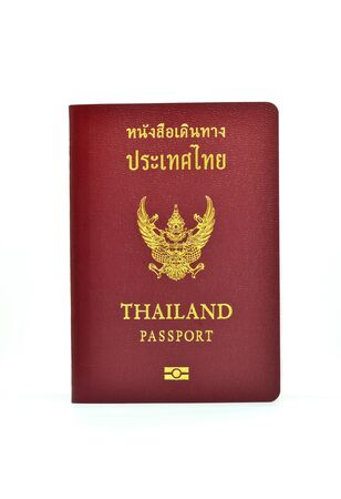 Thailand passport isolated an white background  photo