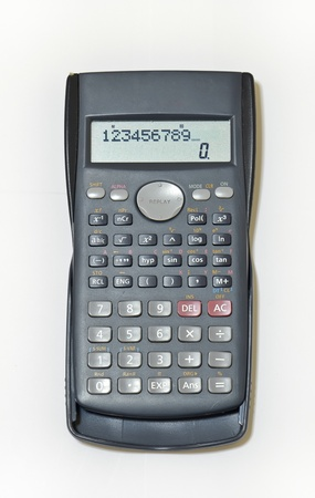 Black calculator isolated on white background  photo