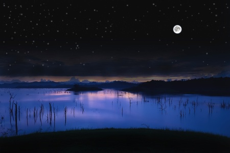 Landscape Lake with full moon and a starry sky.  Stock Photo - 11039570