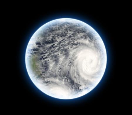 Terre depuis l'espace avec l'ouragan Banque d'images