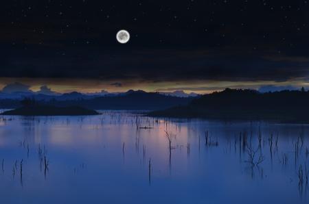 Lac Paysage avec la pleine lune et un ciel étoilé.
