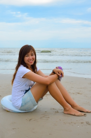 young beautiful girl on vacations at beach Stock Photo - 11039655