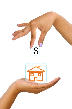 Business woman hand exchange dollar sign and house icon  photo
