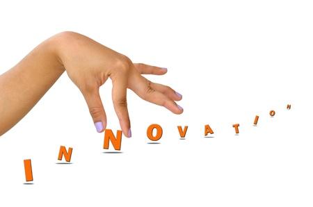 Innovation des mains et des mots isolés sur fond blanc
