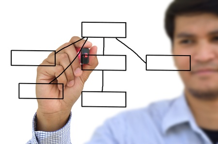 Businessman drawing an organization chart  Stock Photo - 11238087