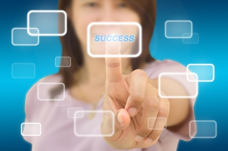distinction:  happy successful woman makes the choice of modern technology