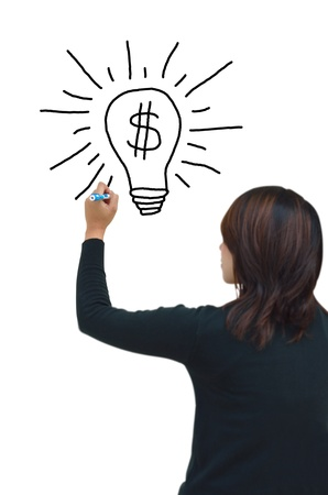 Business woman hand drawing and idea for making money on the whiteboard  Stock Photo