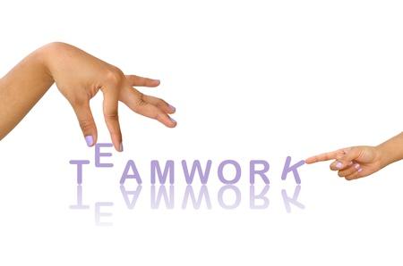 Parole d'équipe et la main, concept d'entreprise, isolé sur blanc Banque d'images