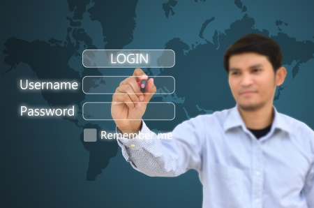 access point: Business man drawing at internet login in page  Stock Photo