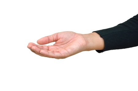picking fingers: Hand of the man palm up on a white background