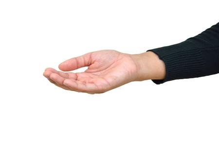 Main de l'homme paume vers le haut sur un fond blanc Banque d'images