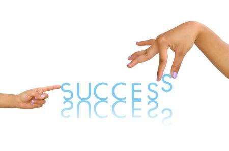 Úspěch Word a ženské ruce, obchodní koncept, izolovaných na bílém pozadí Reklamní fotografie - 11431971