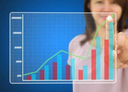 young business women pressing on a graph photo