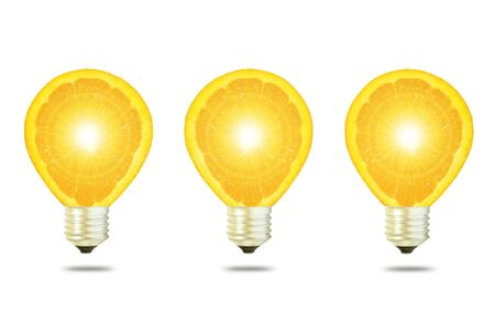 Yellow ligh bulb on white background  photo