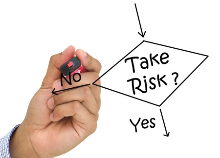 whether: Hand drawing determine whether to take the risk or not  Stock Photo