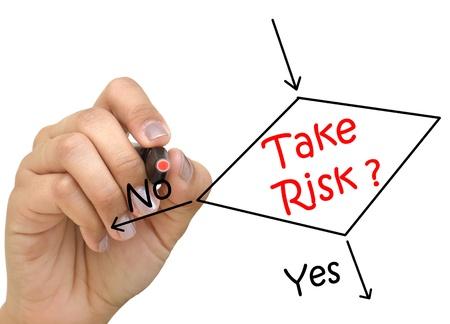 Dessin à la main de déterminer si de prendre le risque ou non