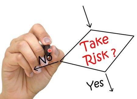 Hand drawing determine whether to take the risk or not  Stock Photo