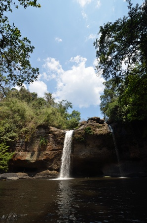 Waterfall in tropical forest in the winter  photo