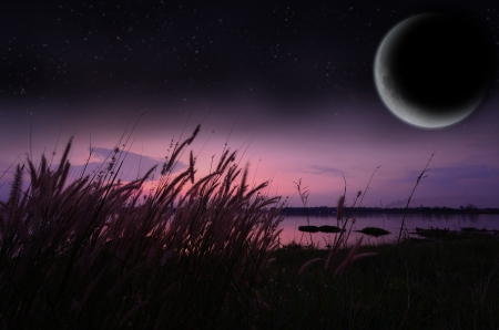 Landscape lake with moon and a starry sky  Stock Photo