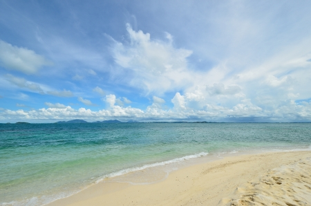 peaceful white sand beach at Talu island,Thailand  Stock Photo