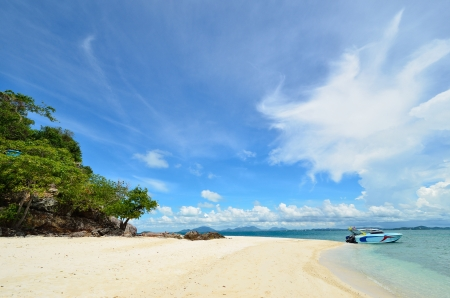 peaceful white sand beach at Talu island,Thailand  photo
