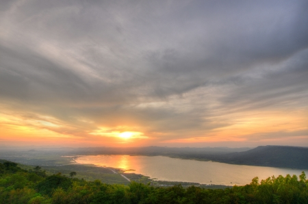View of majestic sunset of mountains landscape HDR image photo