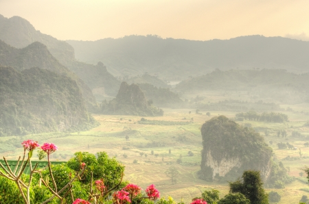 Sunshine on the morning mist at Phu Lang Ka, Phayao Province, Northern Thailand,HDR photo