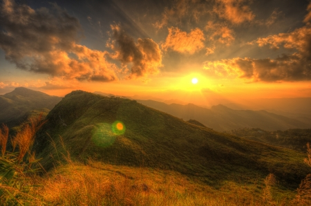 Viewpoint beautiful mountain at  Doi-Pha-Tang  Chiang rai , northern Thailand  HDR  photo