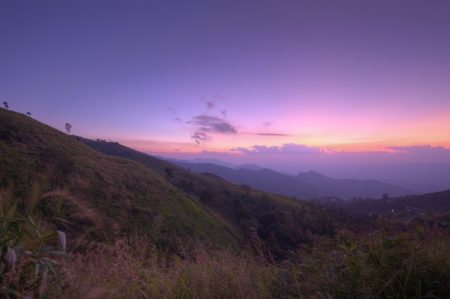 Viewpoint beautiful mountain at  Doi-Pha-Tang  Chiang rai , northern Thailand  HDR  Stock Photo - 16931201