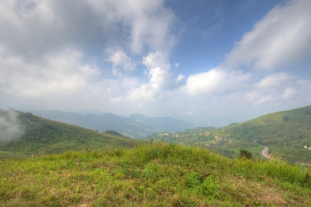 Viewpoint beautiful mountain at  Doi-Pha-Tang  Chiang rai , northern Thailand  HDR  Stock Photo - 16931327