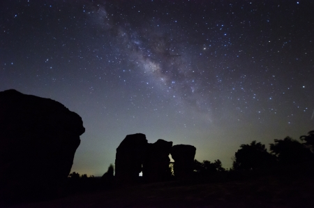 Milkyway at wangnamkeow, Thap lan NationalPark, Provice Nakhon Ratchasima of Thailand Stock Photo - 19714816