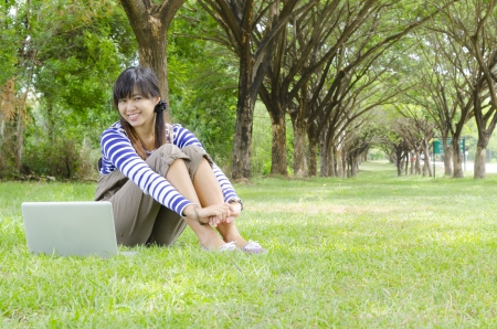Woman With Laptop In the Park photo